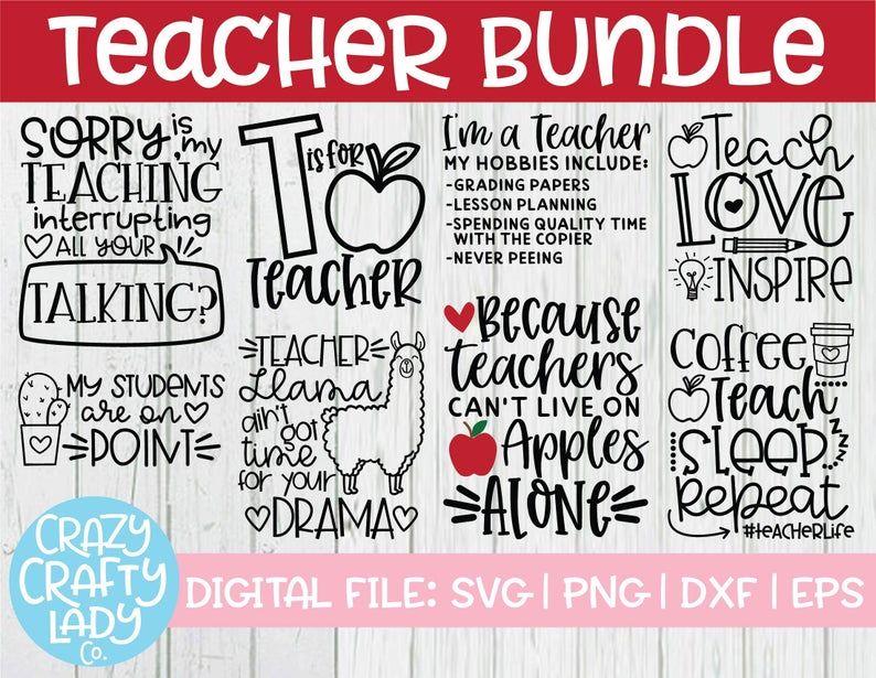 Teacher SVG Bundle, Back to School Cut File, Appre