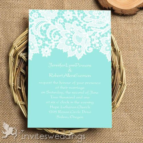 Tiffany Blue Lace Wedding Invitations IWI330 Wedding Invitations