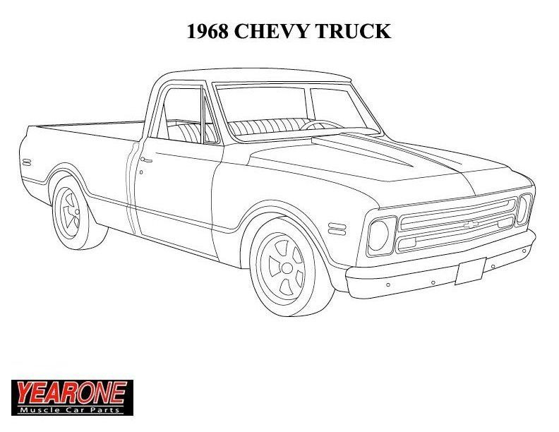 Chevrolet Vehicles Truck Coloring Pages Cool Car Drawings 1968 Chevy Truck