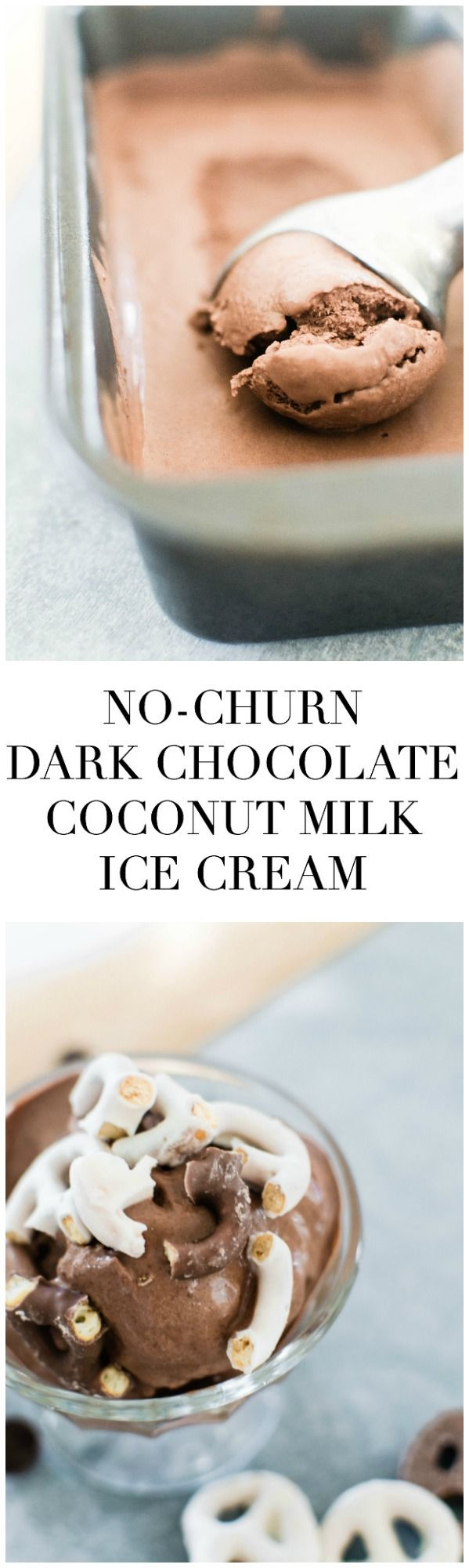 Dairy Free No Churn Dark Chocolate Ice Cream With Salted Pretzel Topping