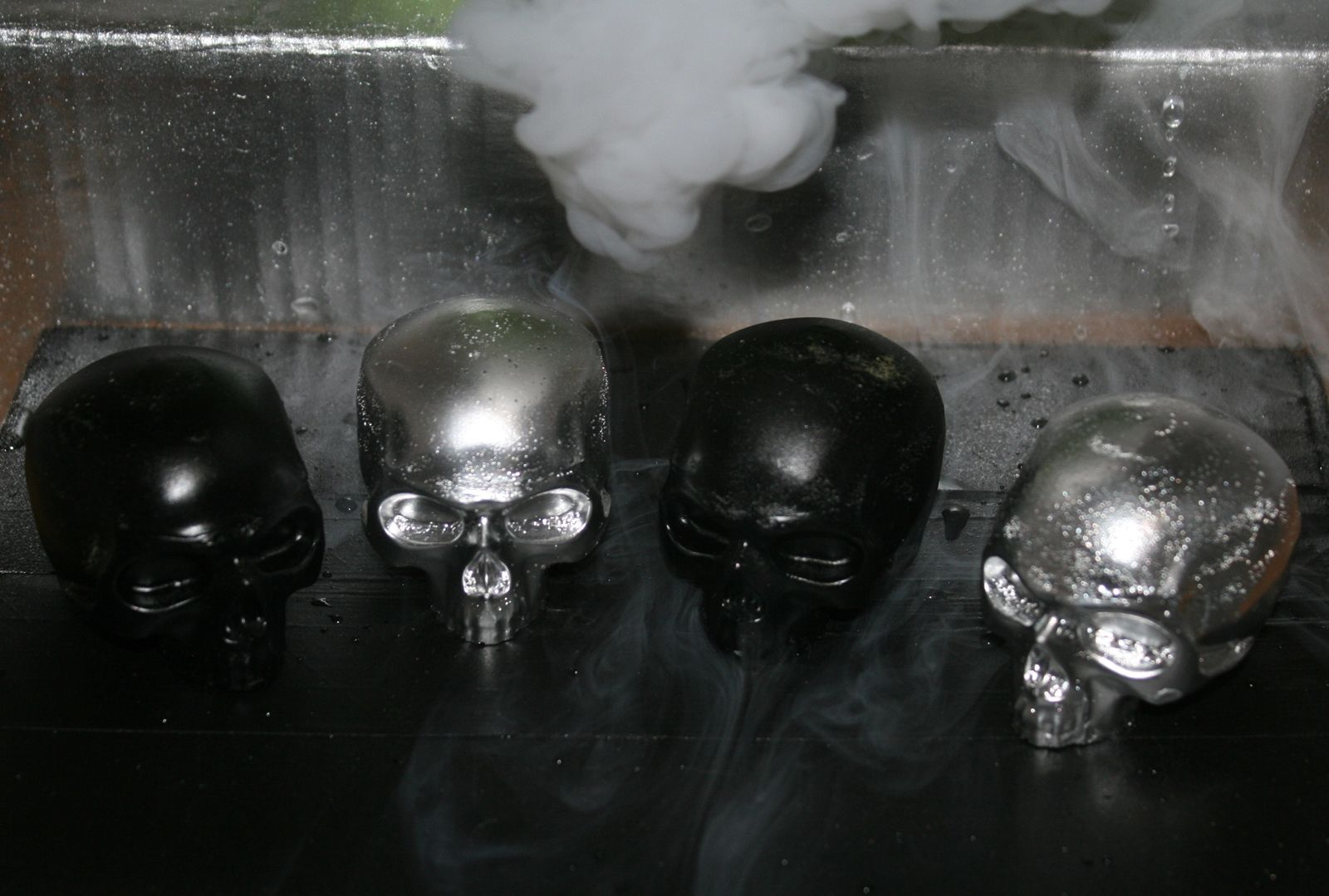 Icy Skullz Silver Chrome Black Resin Figures for sale poster buy purchase limited edition art