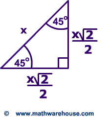 Special Right Triangles Formulas 30 60 90 And 45 45 90 Special Right Triangles Examples Pictures And Inte Triangle Formula Learning Mathematics Math Formulas