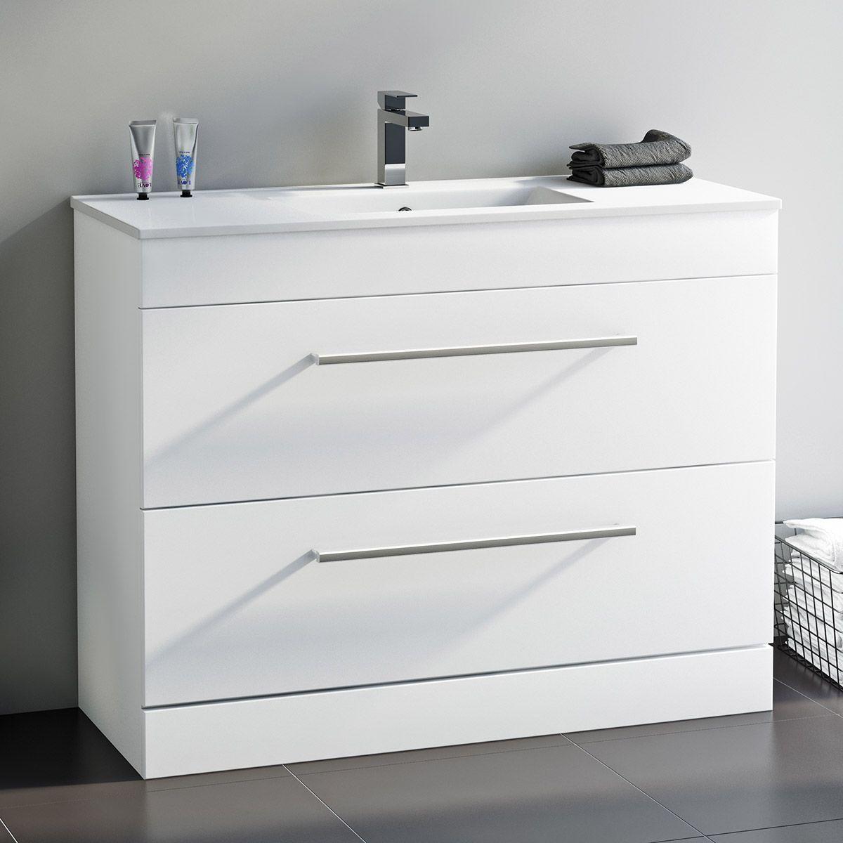 Orchard Derwent White Floorstanding Vanity Unit And Ceramic Basin