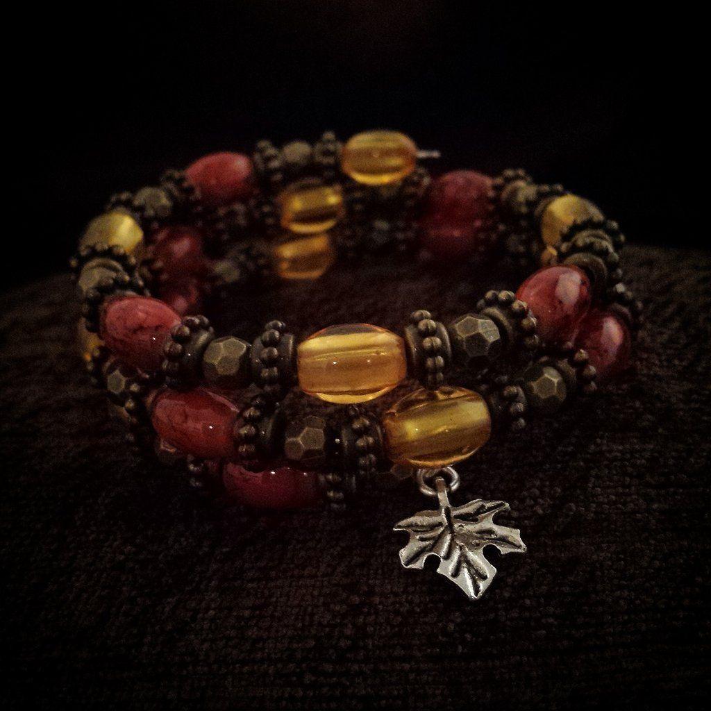 B05-14 Memory Wire Beaded Bracelet Fall Leaves