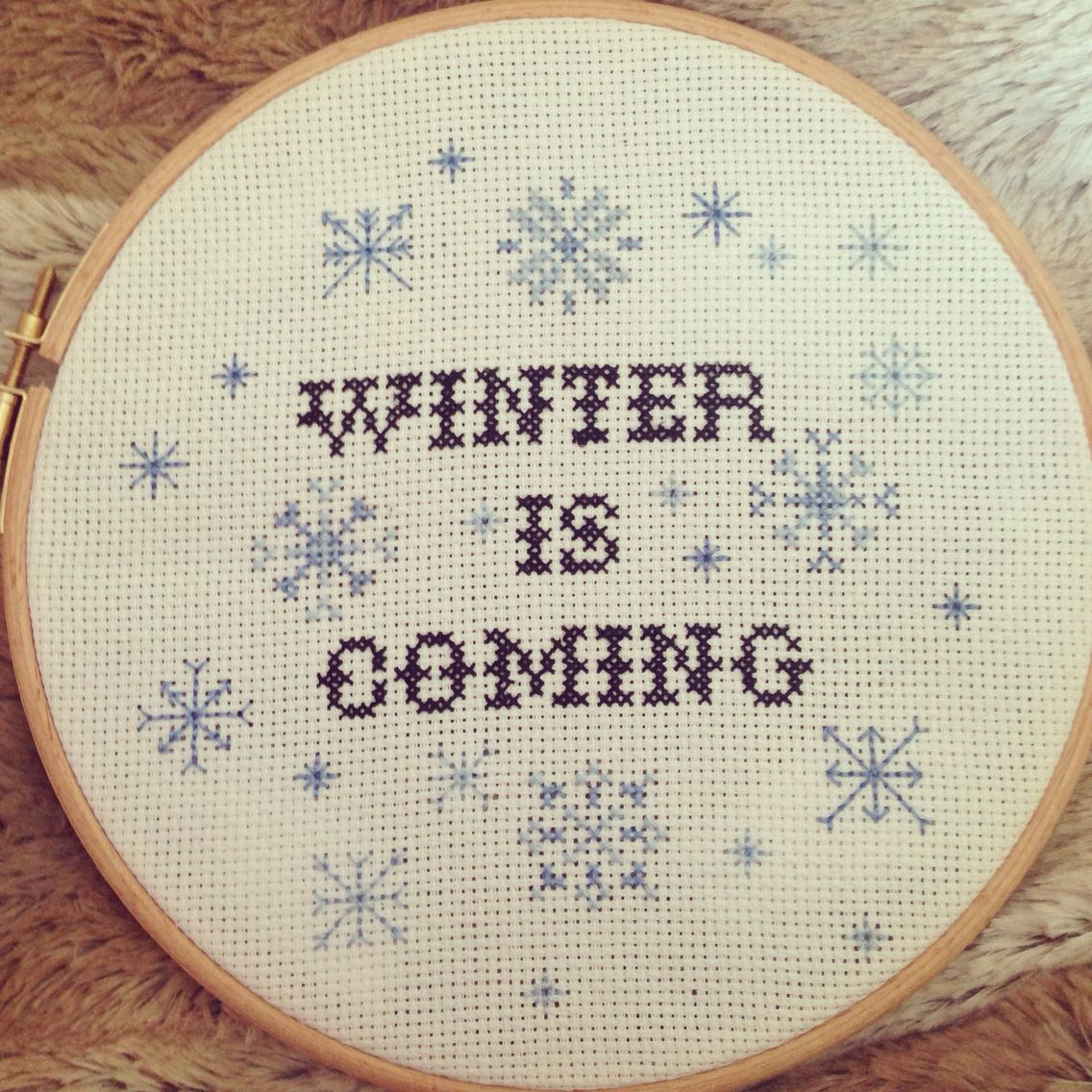 Winter is coming! Cross stitch I finished today!