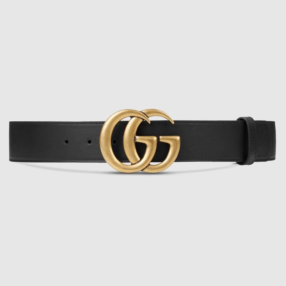 Cinturón de piel con hebilla doble G - Gucci Cinturones de Mujer  400593AP00T1000 f15e97805fe