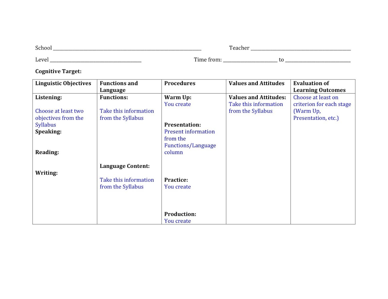 Foreign Language Lesson Plan Format