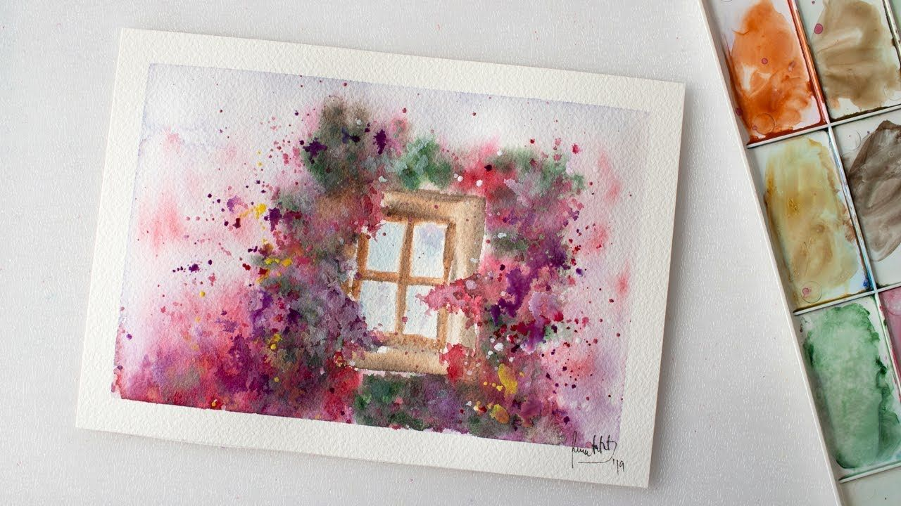 Watercolor Window Flowers Bloom Painting Easy With Free Sketch