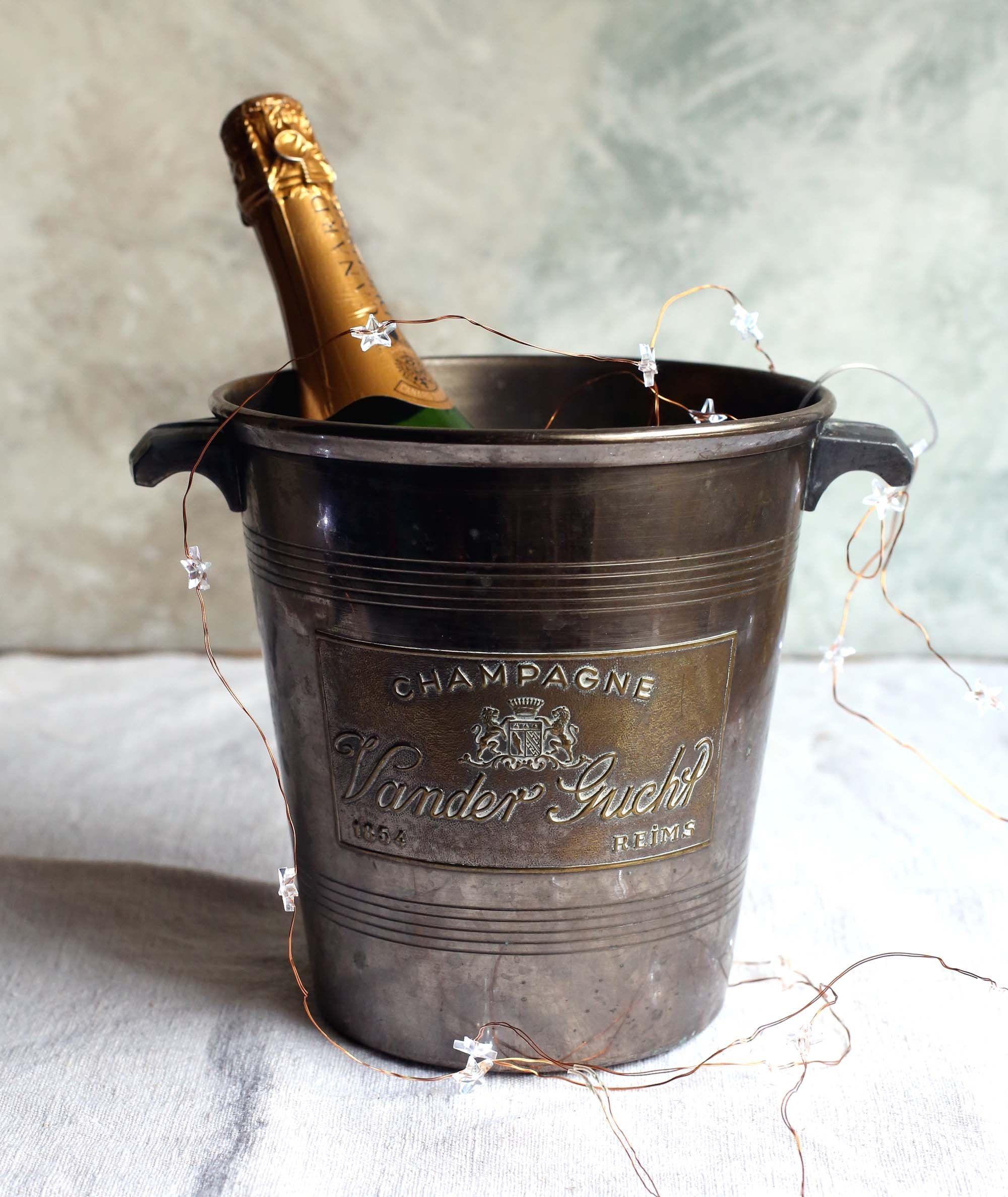 Antique French Chrome Champagne Bucket Wine Cooler Ice Bucket Art Deco Champagne Vander Gucht Vintage Barware Ice Bucket Champagne Buckets Large Ice Bucket