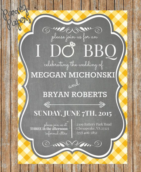 Bbq Wedding Reception Food Ideas: Backyard BBQ Wedding Invite-Printable, BBQ Wedding Invite