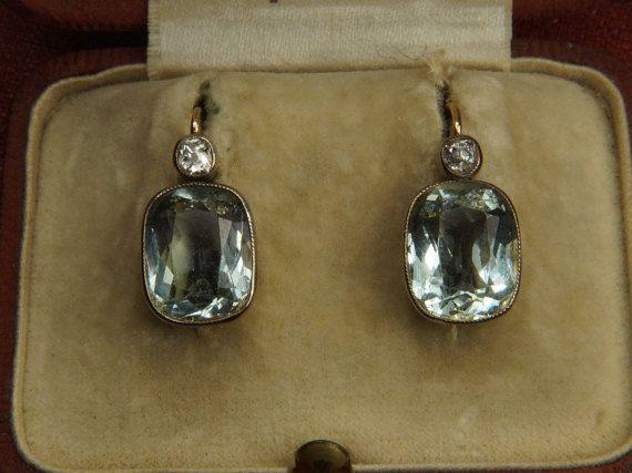 Antique Russian 14K Gold Aquamarine & Diamond by CJAntiquesLtd