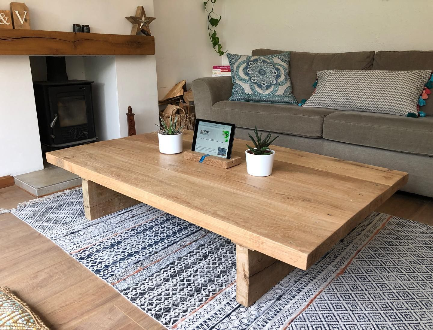 Another Amazing Solid Chunky Oak Coffee Table From Wood Create This One Was A Living Room Coffee Table Coffee Table Decor Living Room Table Decor Living Room [ 1099 x 1440 Pixel ]