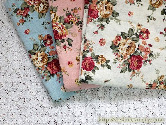 Clearance Retro Shabby Chic Wild Rose Garden, Three Colors To Choose Linen Cotton Blended Fabric (1 Yard) is part of Wild Rose garden - Quantity 1 yard Color Pink, blue, white Material Linen cotton blended fabric (Thin) Dimensions approximately 35 4  x 43 5  (90cmx110cm)  Full width is 110cm   Rose measures about 3cm in diameter  Thanks for stopping by!