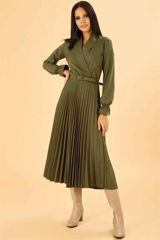 Kruvaze Kesim Midi Boy Haki Rengi Elbise Green Midi Dress Darkgreen Yesilelbise Elbise Elbise Modelleri The Dress