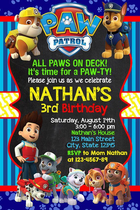 Birthday Invitations Paw Patrol Birthday Pinterest