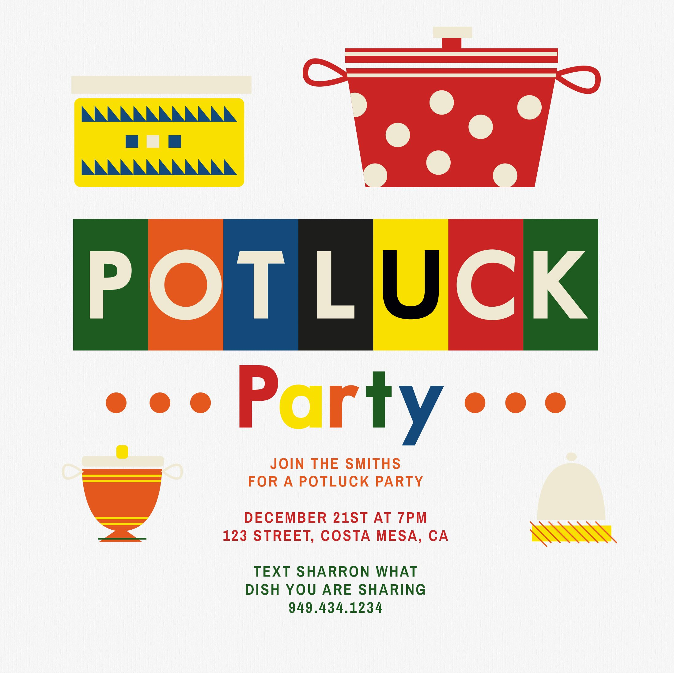 Pots And Pans Potluck, Print FROM HOME, Potluck Party Invitation ...