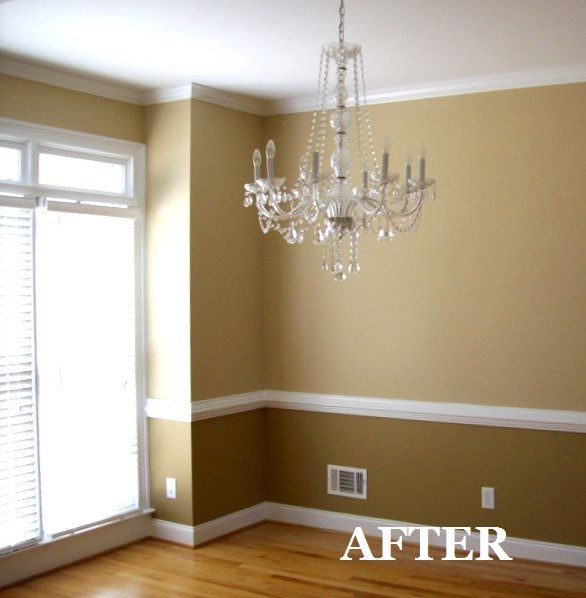 Two tone dining room with chair rail light color above for Two tone room paint