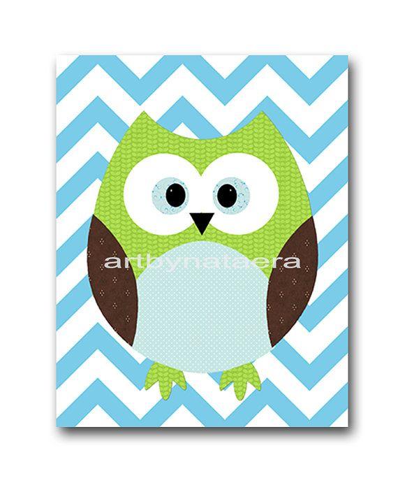 Owl Decor Nursery Baby Boy By Artbynataera