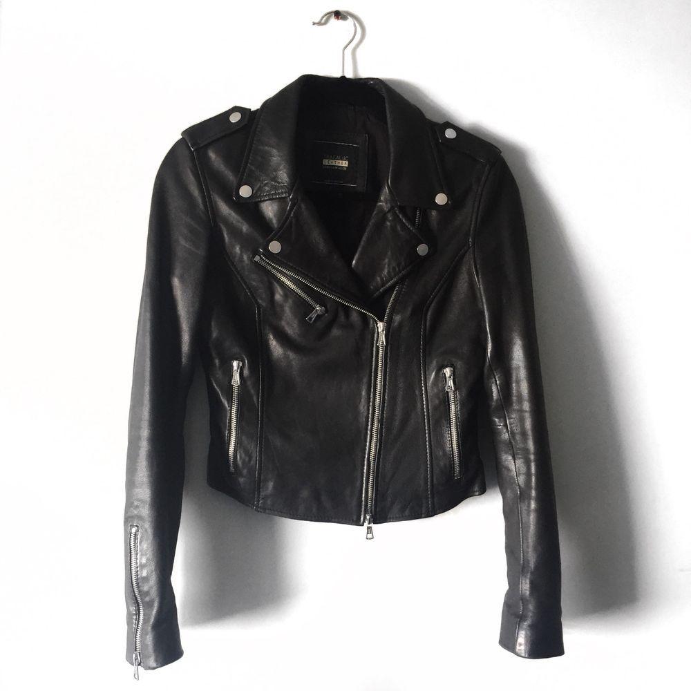 Zara Trafaluc Genuine Leather Black Biker Jacket M Fashion Clothing Shoes Accessories Womensclothing Coats Zara Biker Jacket Jackets Black Biker Jacket [ 1000 x 1000 Pixel ]