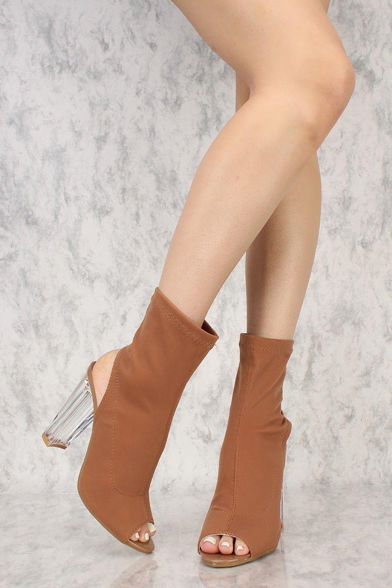 fd98a1b2a9d Tan Lycra Peep Toe Clear Chunky Heel Booties