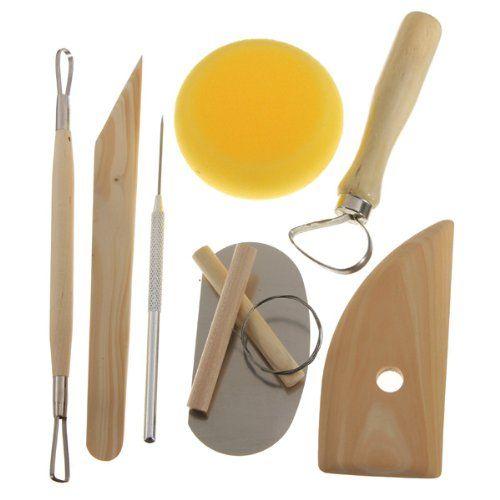 8Pc Ceramic Pottery Modeling Tool Set Clay Modelling Sculpting Tools loop//ribbon