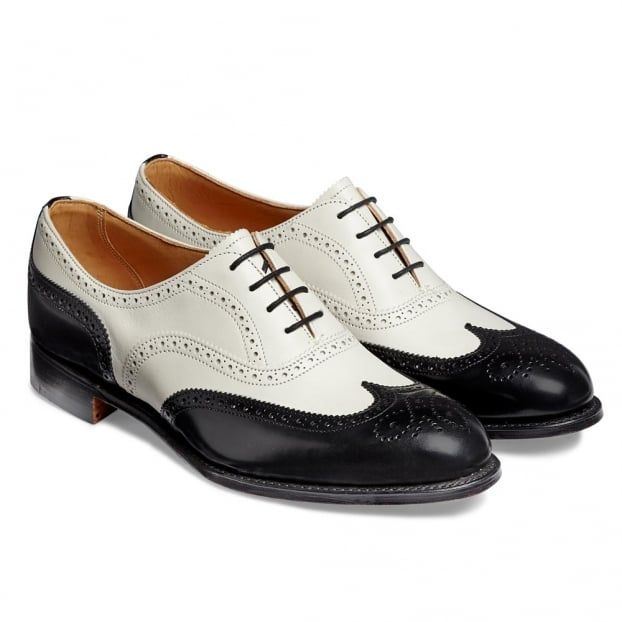 721efd996cdde Cheaney Maisie Alt Ladies Wingcap Oxford Brogue in Black Hi-Shine Ivory Calf  Leather