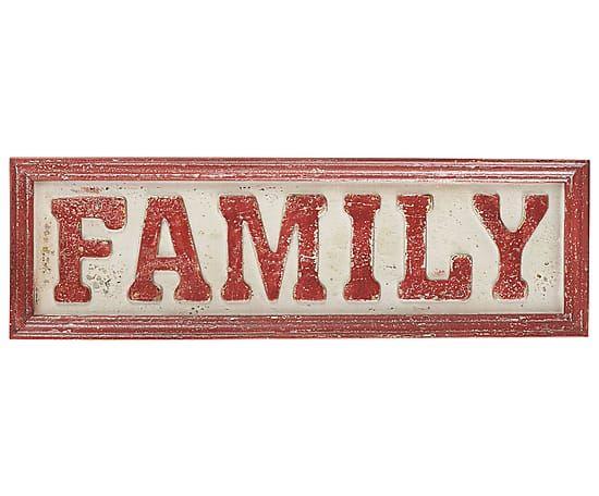 Placa decorativa de metal Family, blanco y rojo - 61x19 cm