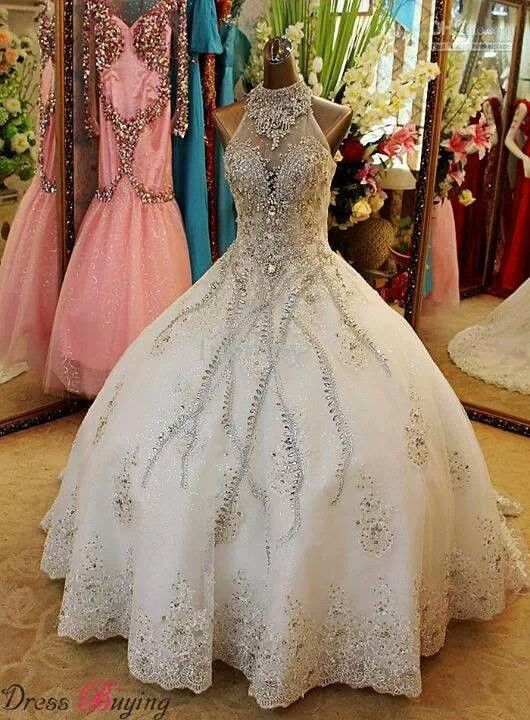 Cinderella Wedding Dress Wedding Dress Train High Neck Wedding