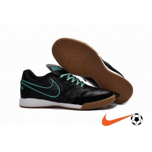 Nike Tiempo - Nike Tiempo Genio II Leather IC Noir/Hyper Turqouise  Indoor/Court