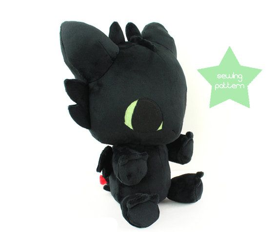 PDF sewing pattern - Toothless Dragon stuffed animal - large kawaii ...
