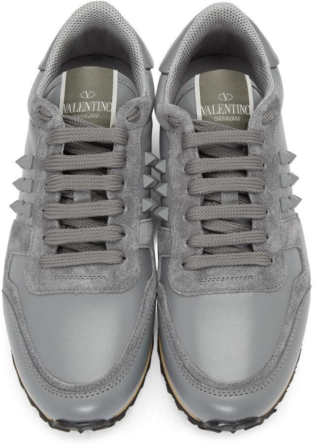 544713d81888b Valentino - Grey Rockstud Sneakers Valentino Rockstud Trainers