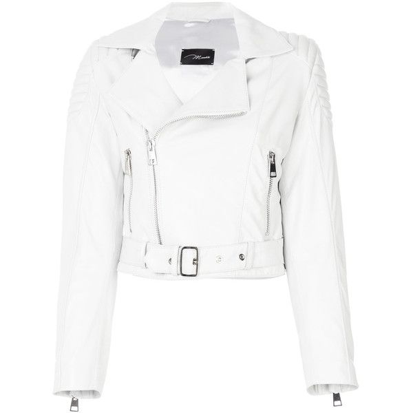 Manokhi cropped leather jacket ($964) ❤ liked on Polyvore ... : white quilted leather jacket - Adamdwight.com