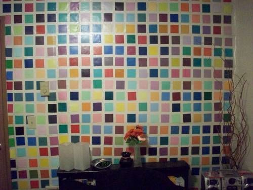 Contact Paper And Paint Chips Really Good For Apartments That You Can T Modify With Back Splashes Or Paint Contact Paper Homemade Wallpaper Paint Chip Art