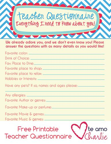 Back To School Free Printable Teacher Questionnaire  Free