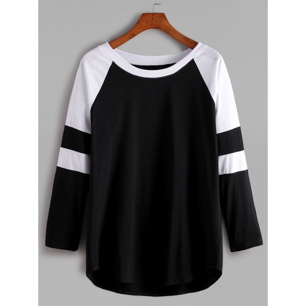 Black And White Contrast Raglan Sleeve T-shirt (€10) ❤ liked on Polyvore featuring tops, t-shirts, shirts, black, women, black and white, t shirt, tee-shirt, long sleeve t shirts and cotton blend t shirts