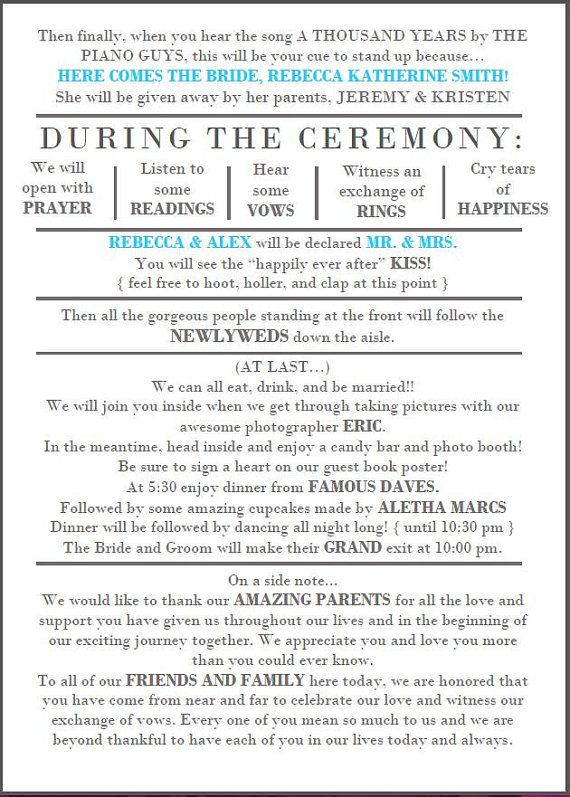 Funny Wedding Program Instant download | ***best seller*** | relaxed ...