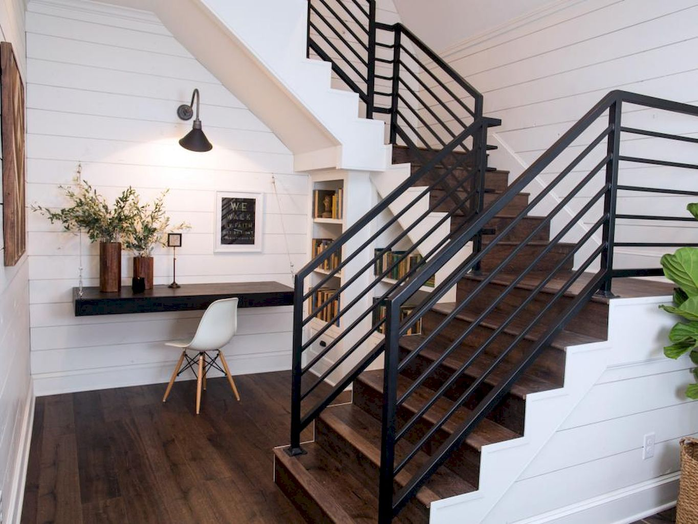 80 Modern Farmhouse Staircase Decor Ideas | Modern farmhouse ...