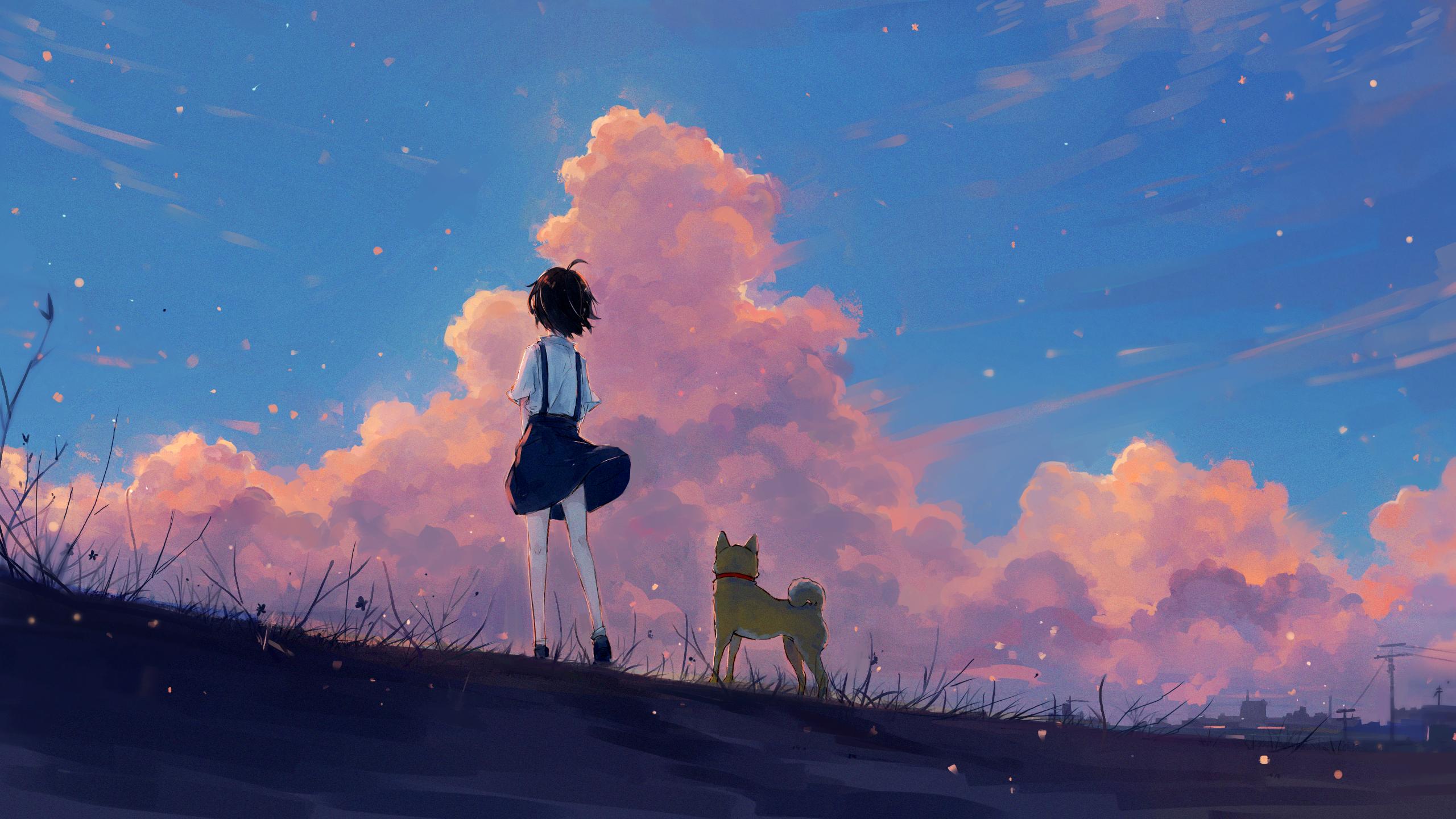 Anime 2560x1440 Artwork Anime Landscape Painting Fan Art Anime Girls Dog Illustration Anime Scenery Wallpaper Scenery Wallpaper Anime Scenery