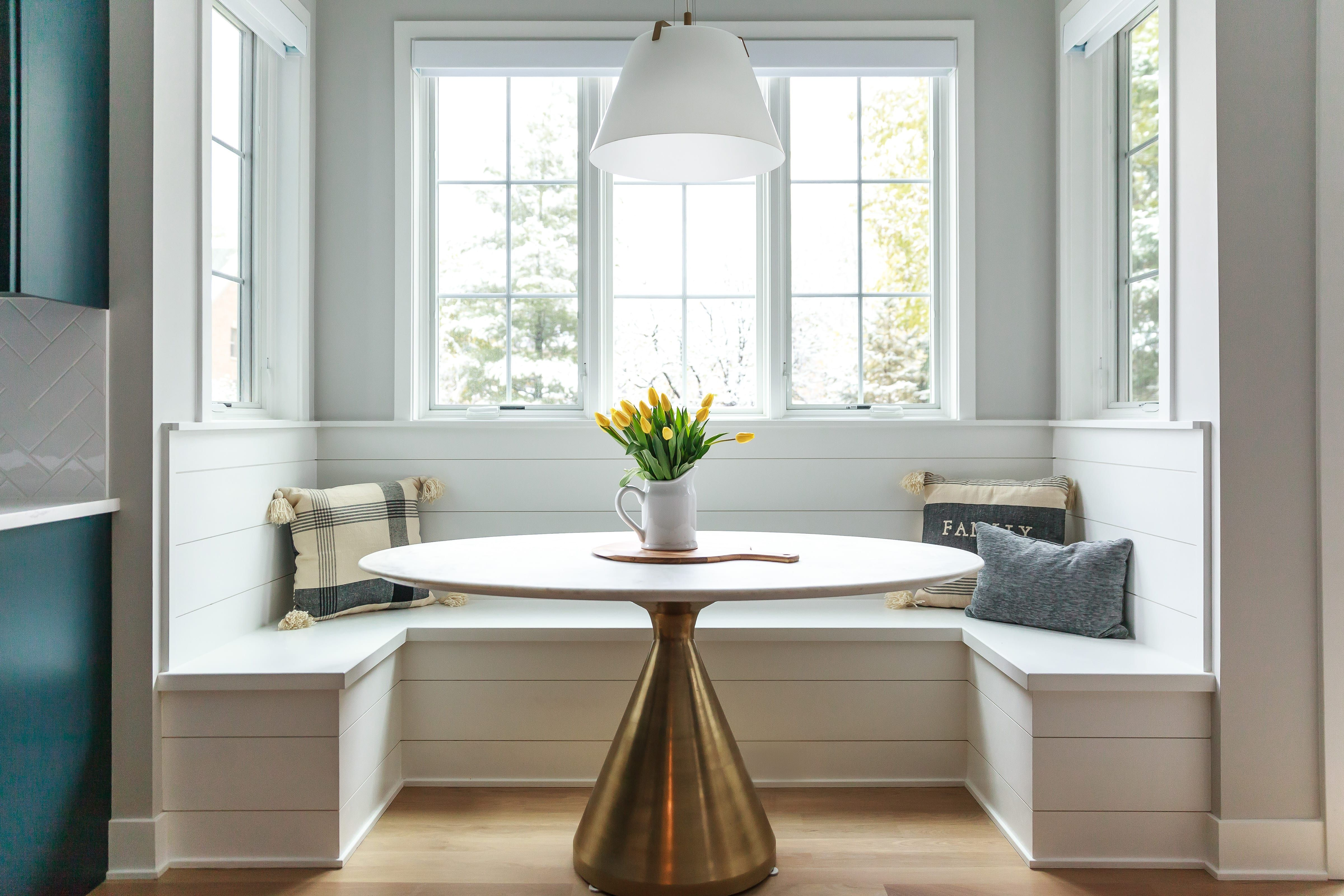 kitchen banquette with pedastal table and shiplap accent kitchen banquette restaurant on kitchen interior table id=85696