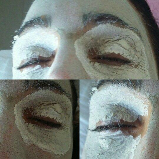 Máscara reafirmante combinada con máscara descongestiva. Superposición de ambas, una sobre otra.