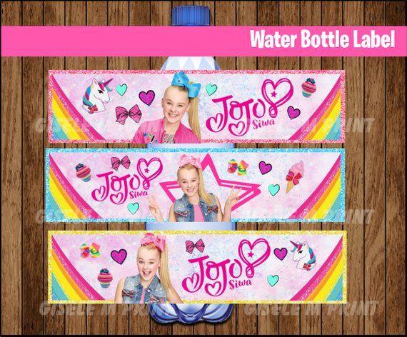 62da424652 JoJo Siwa Water Bottle Label, Printable JoJo Siwa Water labels, JoJo Siwa  party Water instant downlo
