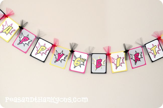 Supergirl Happy Birthday Banner Superhero Girl