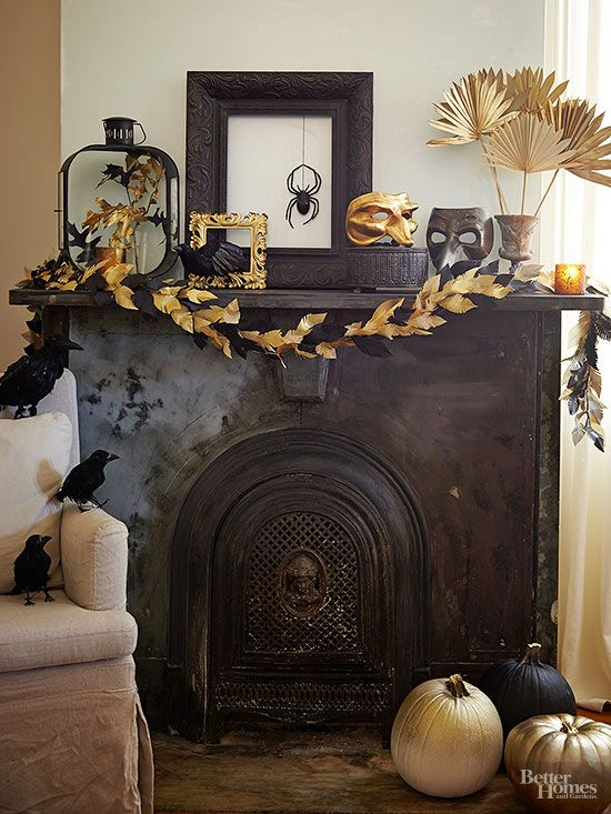 Gold makes an impact in this vignette: Using gold paper, accordion-fold half sheets and attach to sticks for a fan display. Paint a few frames -- some black, some gold -- as well as other accents of your choosing (here, a few masks). Look for gold-foil leaves or paint some faux options to glue to a ribbon for a homemade garland. Once Halloween is over, swap in some pretty bursts of color -- flowers and dried seeds, for example -- to transition to Thanksgiving./