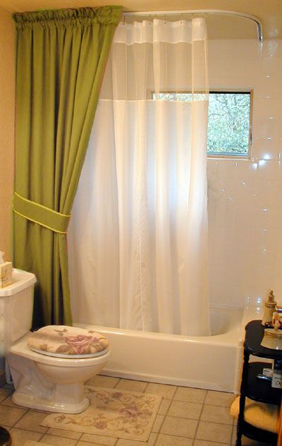 L Shaped Ceiling Mounted Shower Rod Featuring White Shower Curtain With  Mesh And Decorative Curtain