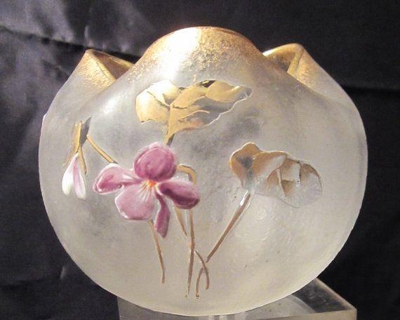 Antique Montjoye rose bowl, French art nouveau vase, enameled violets St Denis, Legras L & Cie,PERFECT frosted glass and enamel, signed St. Denis