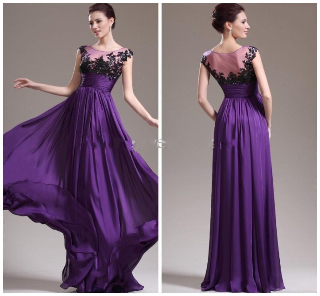 Jewel Lace Applique Sash Purple Long Evening Gown Formal Party Prom ...