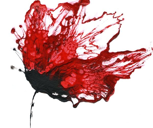 Red wall art flower painting abstract floral art for Red wall art