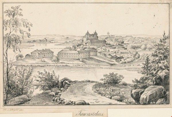 Hämeenlinna ; Kuvitusta teokseen Finland framställdt i teckningar  Wright, Magnus von, taiteilija 1846  Ateneumin taidemuseo