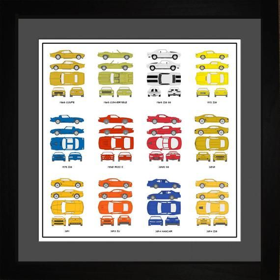Unique art showing a collection of Camaro model years made during its history. Print shows 12 Camaro autos. Makes a great gift for the Camaro lover!TITLE: Camaro Auto Collection PrintARTIST: ArtSourceYEAR: 2015PRINT#: ACAMA1616Choose