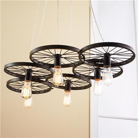 Vintage Spoke Wire Wheel Chandelier | Wheel chandelier, Bicycle ...